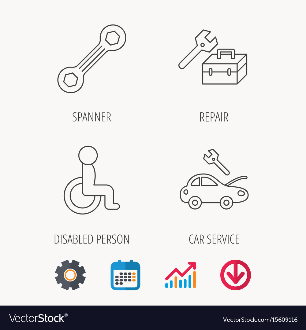 Repair toolbox spanner tool and car service vector image