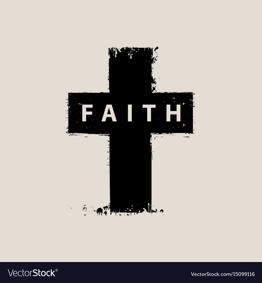 Sign of the scratched cross with the word faith vector image buycottarizona Choice Image