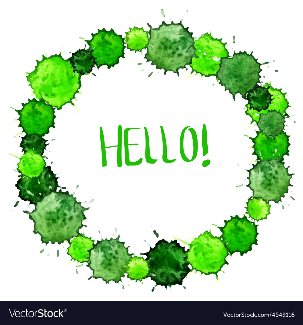 Watercolor colorful green blot background for vector image