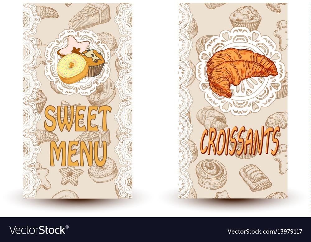 Sweet menu and croissant vector image