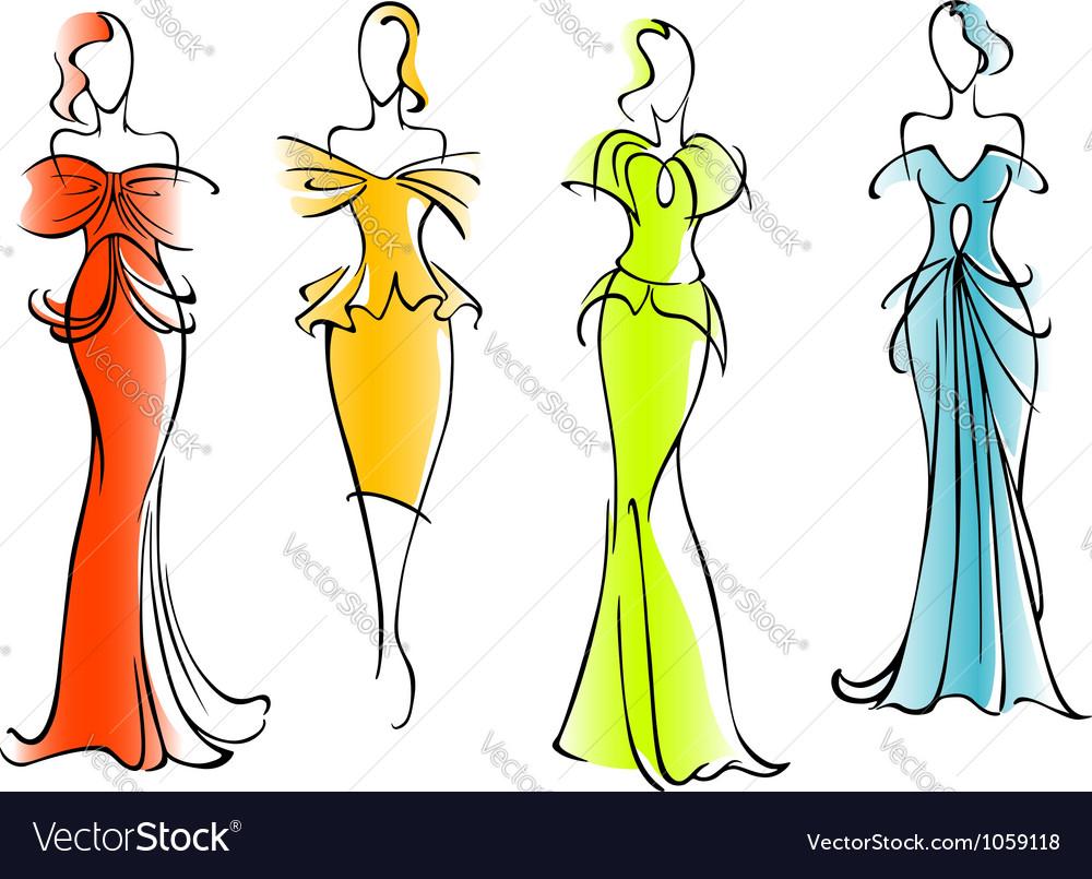 Modern and elegant dresses vector image