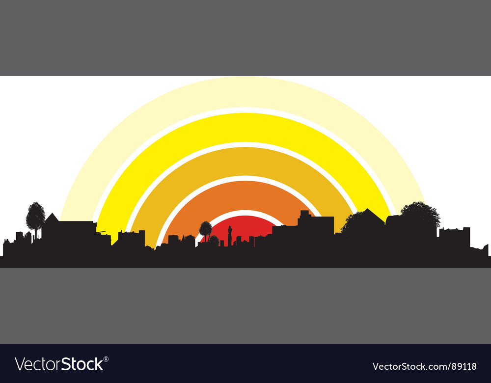 Town silhouette vector image