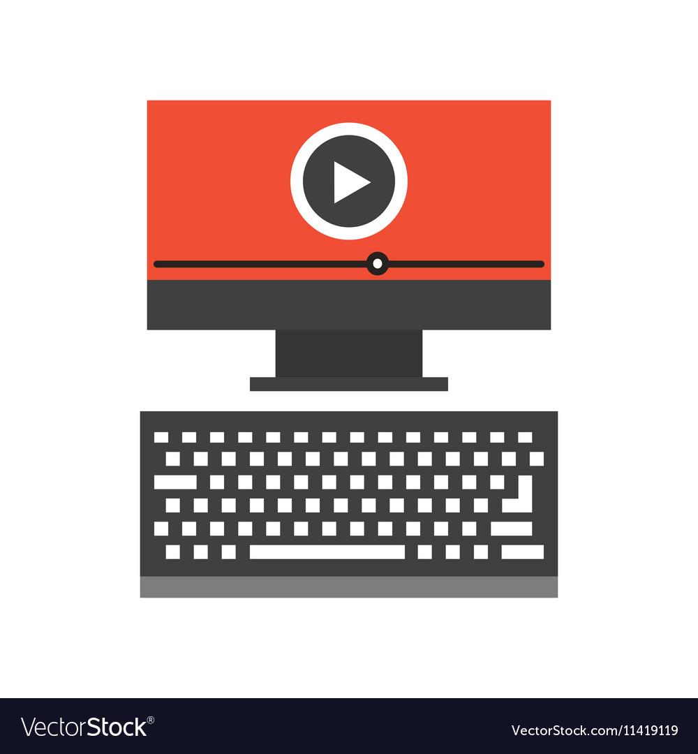 Computer Desktop Flat Line Icon Royalty Free Vector Image