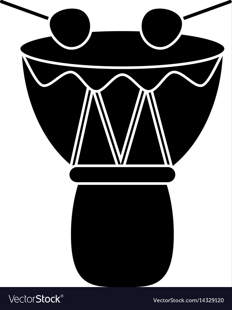 Drum djembe percussion african pictogram vector image