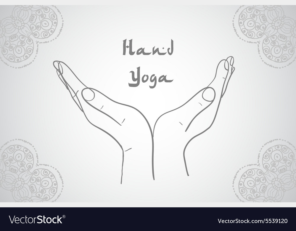 Mehndi Patterns Vector : Element yoga mudra hands with mehndi patterns vector image