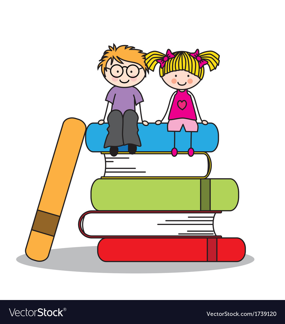 Kids sitting on books vector image