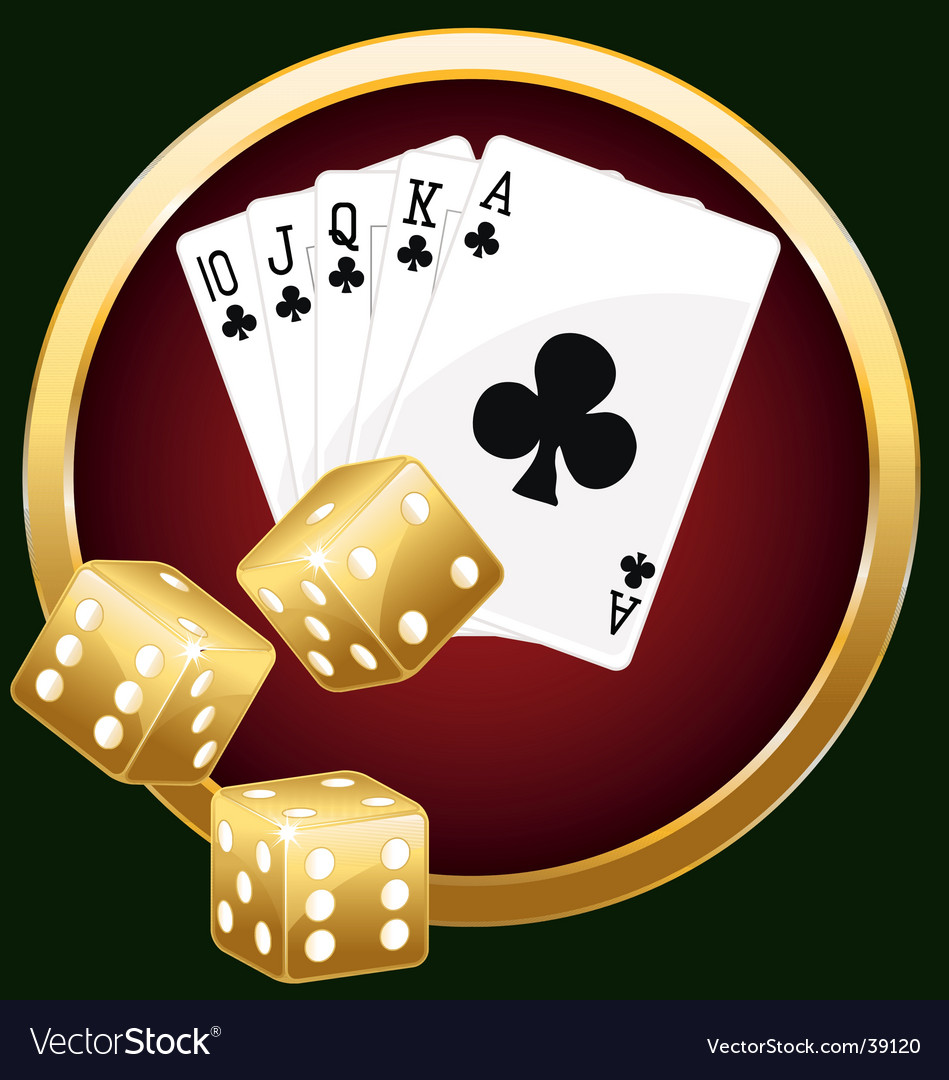 Royal flush and dices vector image