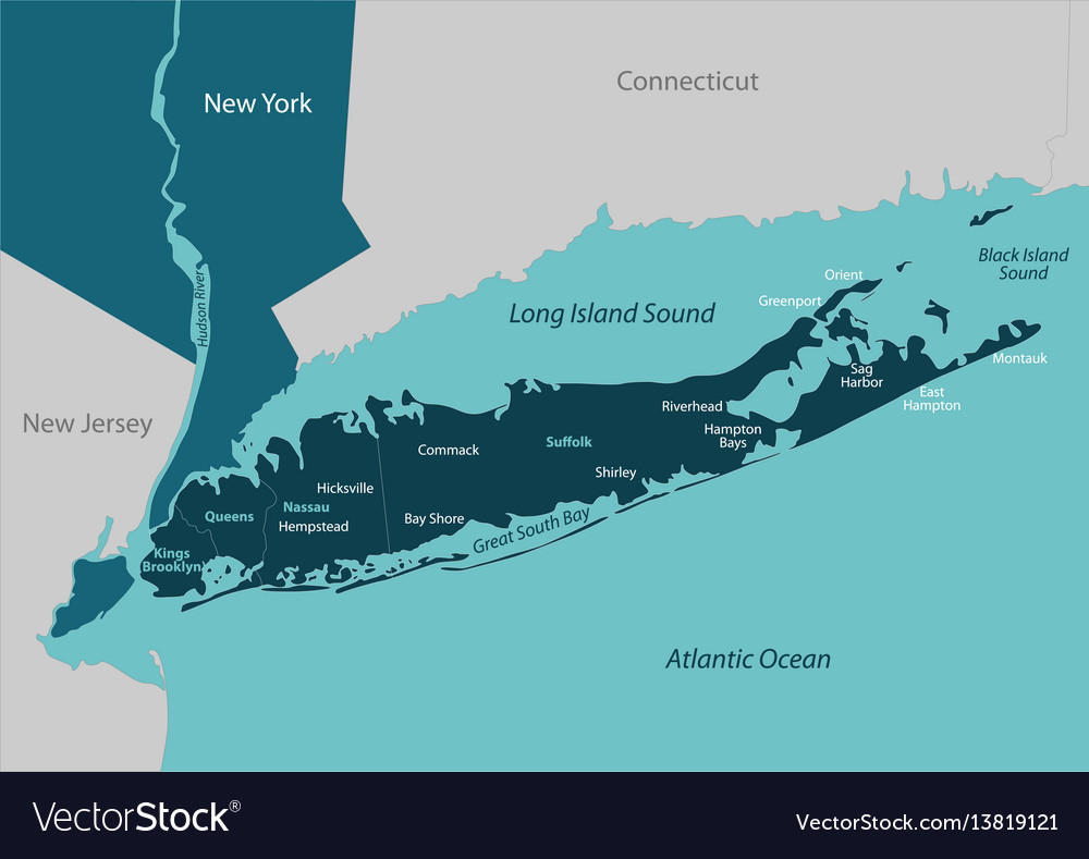 Map of long island vector image