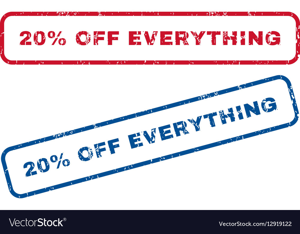 20 Percent Off Everything Rubber Stamps vector image