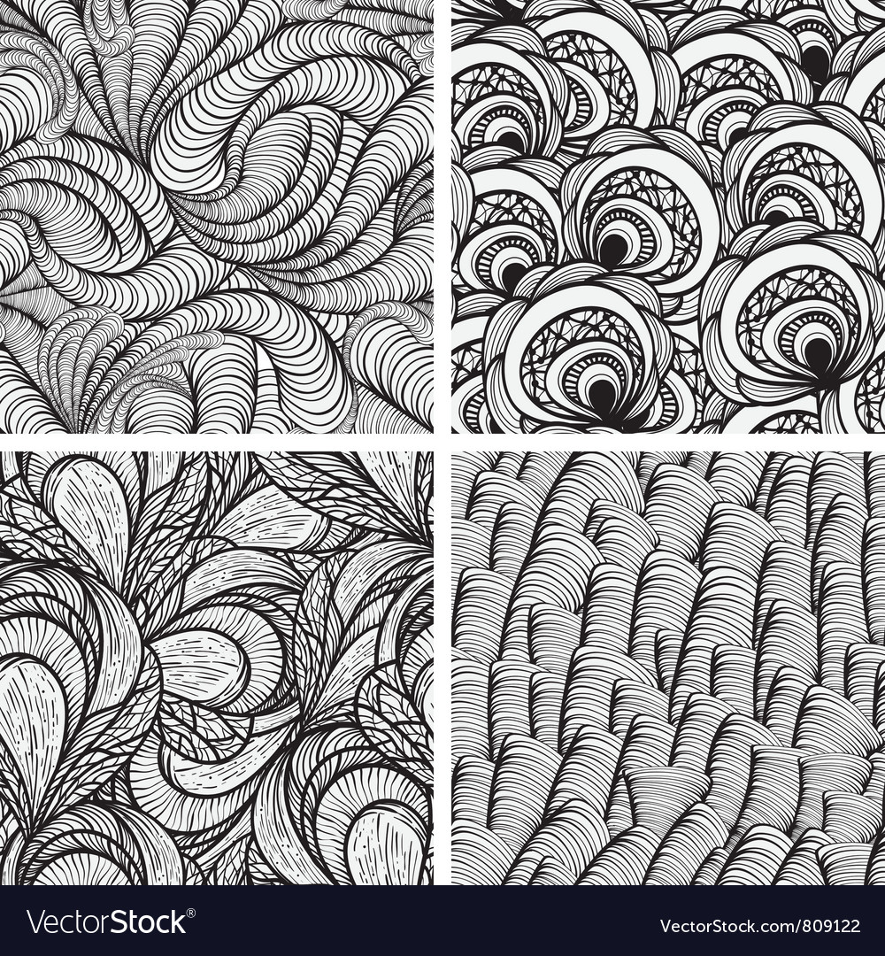 Seamless funky monochrome patterns vector image
