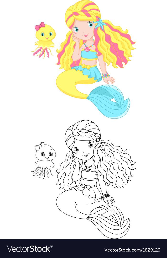 Mermaid coloring page vector image