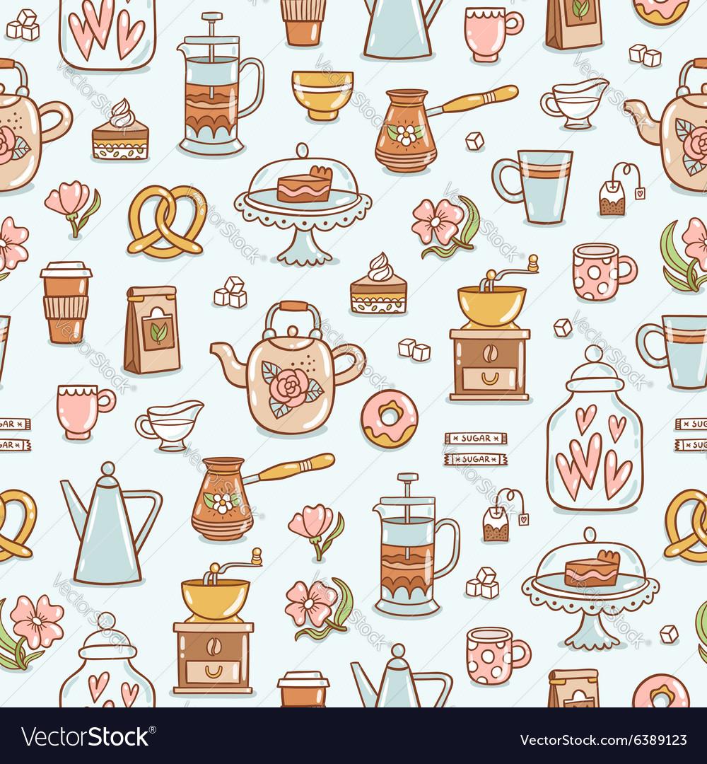 Tea time yummy seamless pattern on light blue vector image