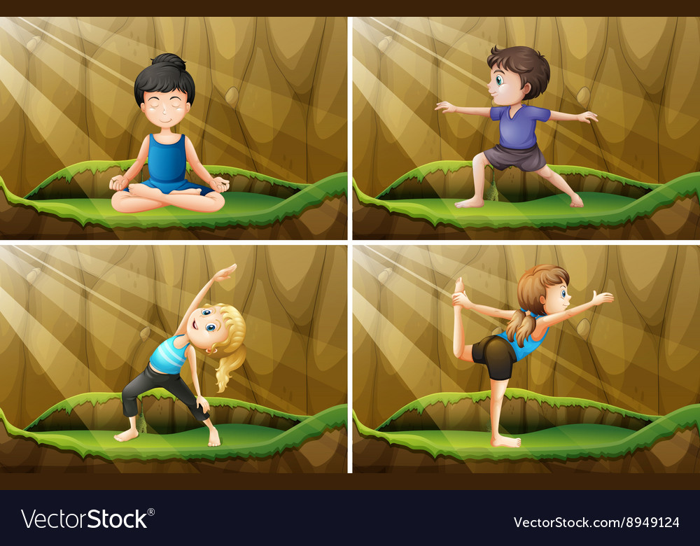 People doing yoga on the grass vector image