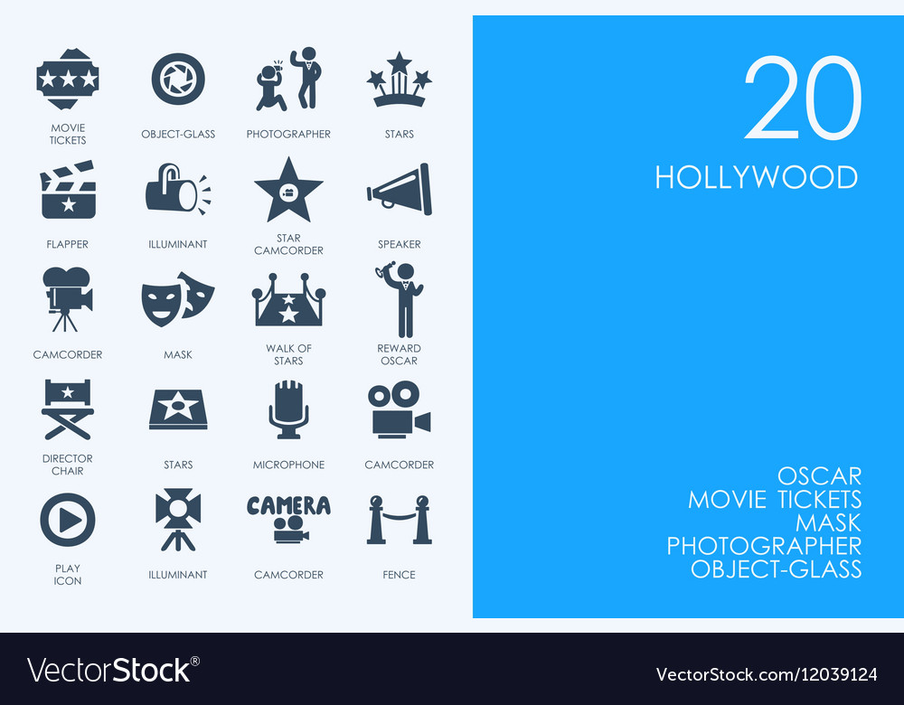 Set of Hollywood icons vector image