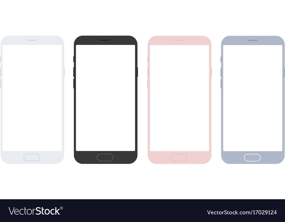 Set of mobile smart phone mockups for apps vector image
