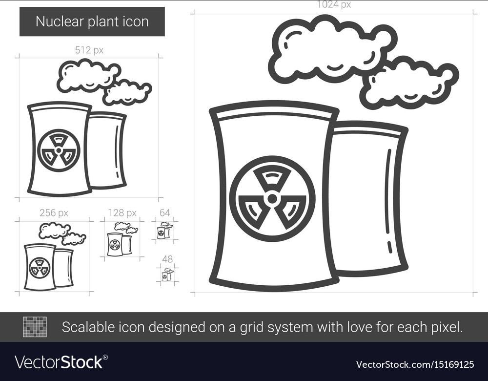 Nuclear plant line icon vector image