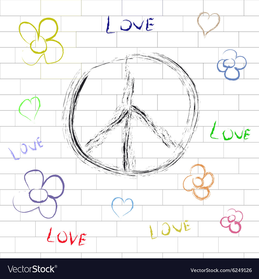 Hippie background and design elements vector image