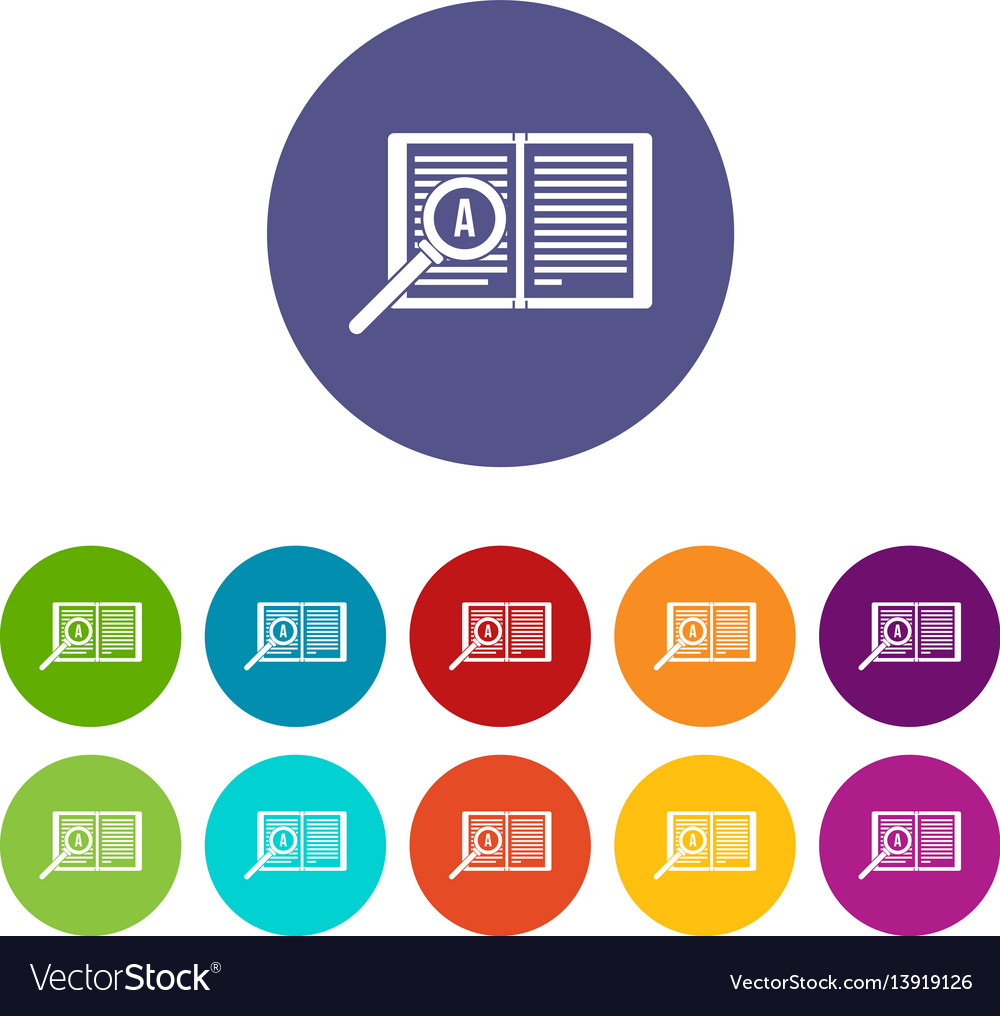 Magnifying glass over open book set icons vector image