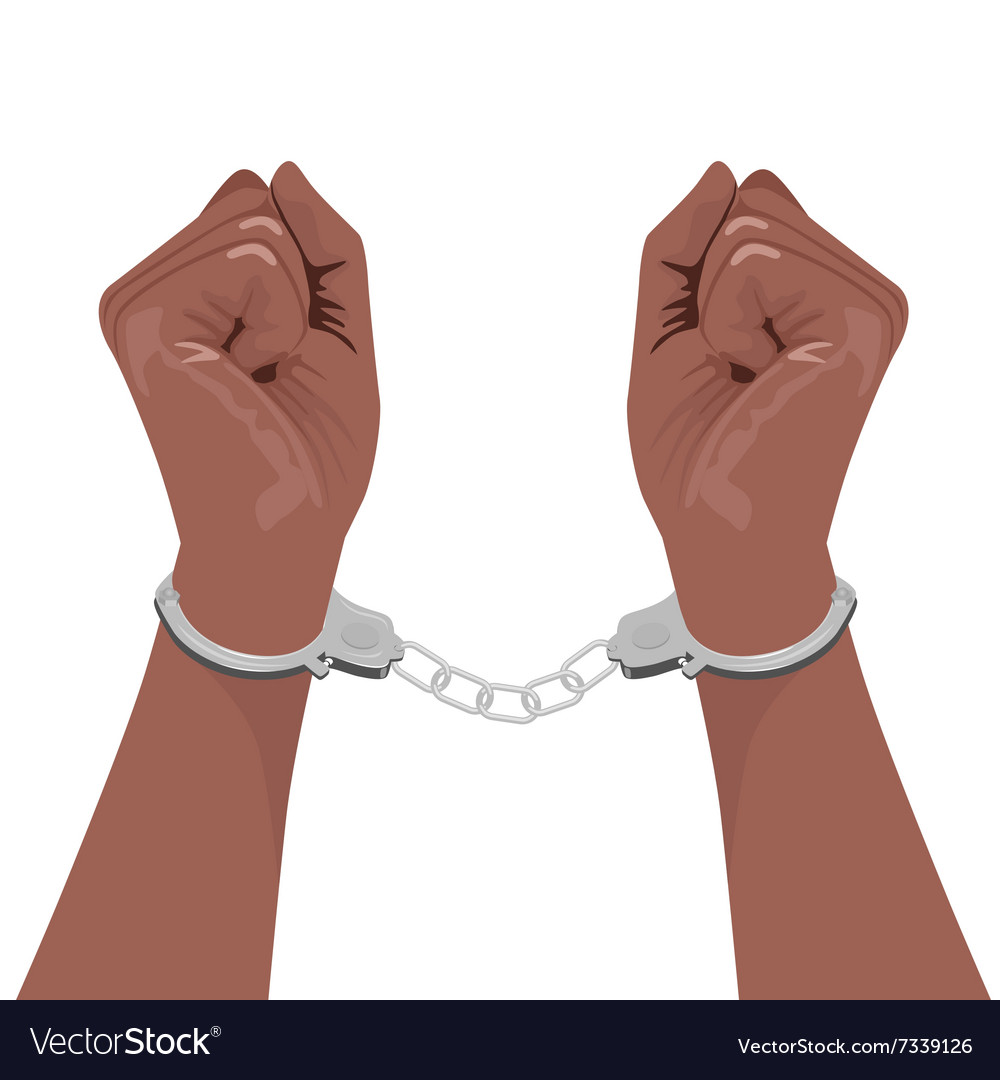 Pair of african american hands in handcuffs vector image