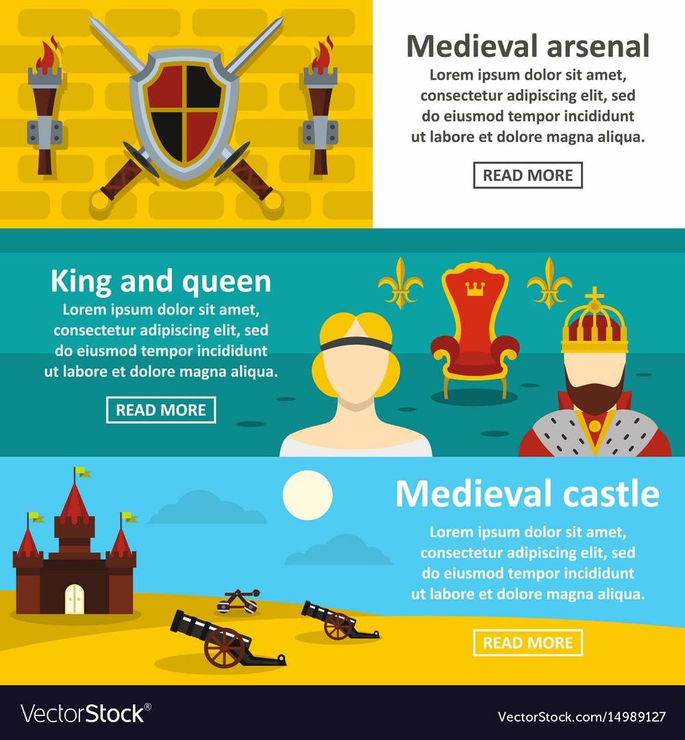 Medieval symbols banner horizontal set flat style vector image