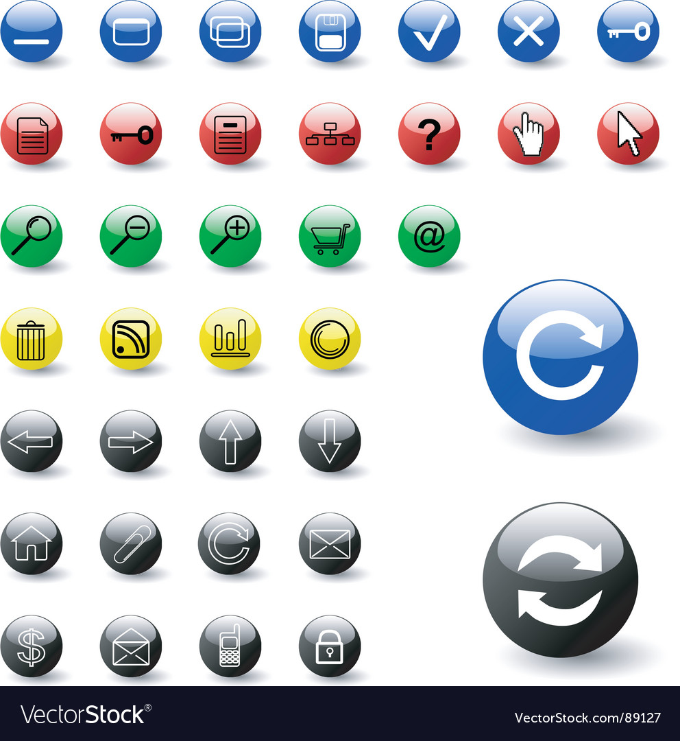 Web color icons vector image