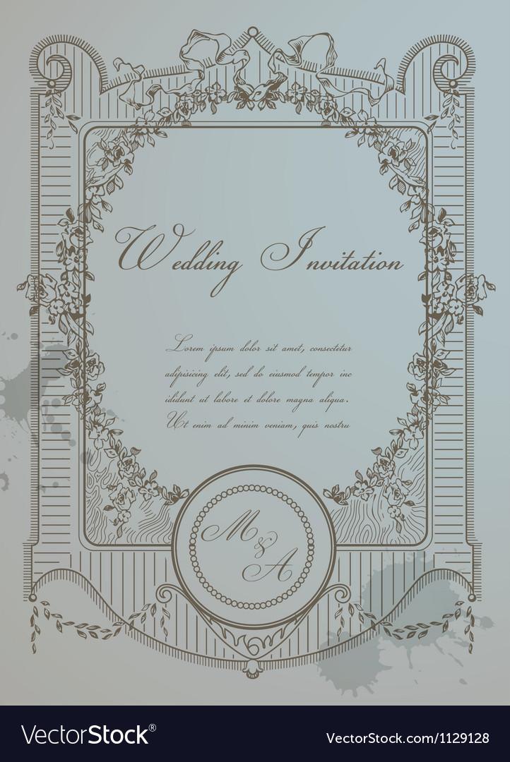 Vintage Wedding Card vector image