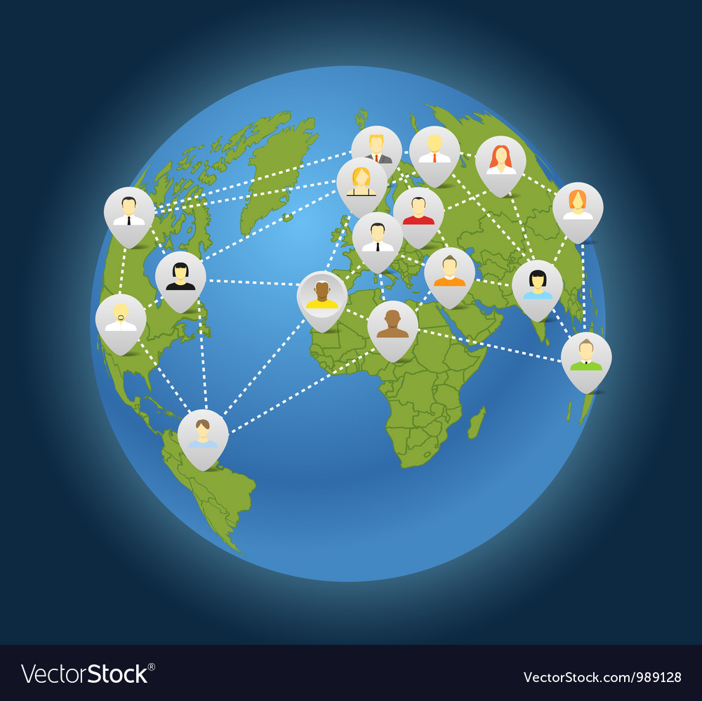 Social connection abstract scheme on globe vector image