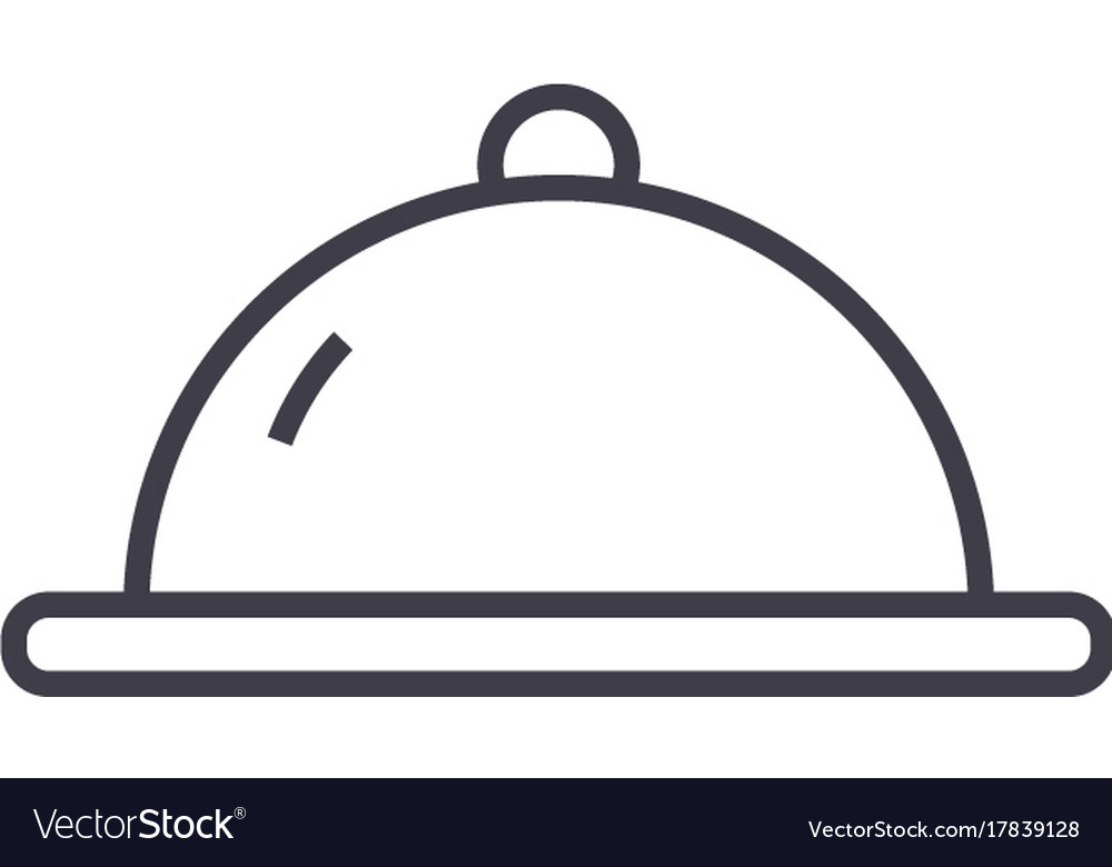 Meal plate line icon sign on vector image
