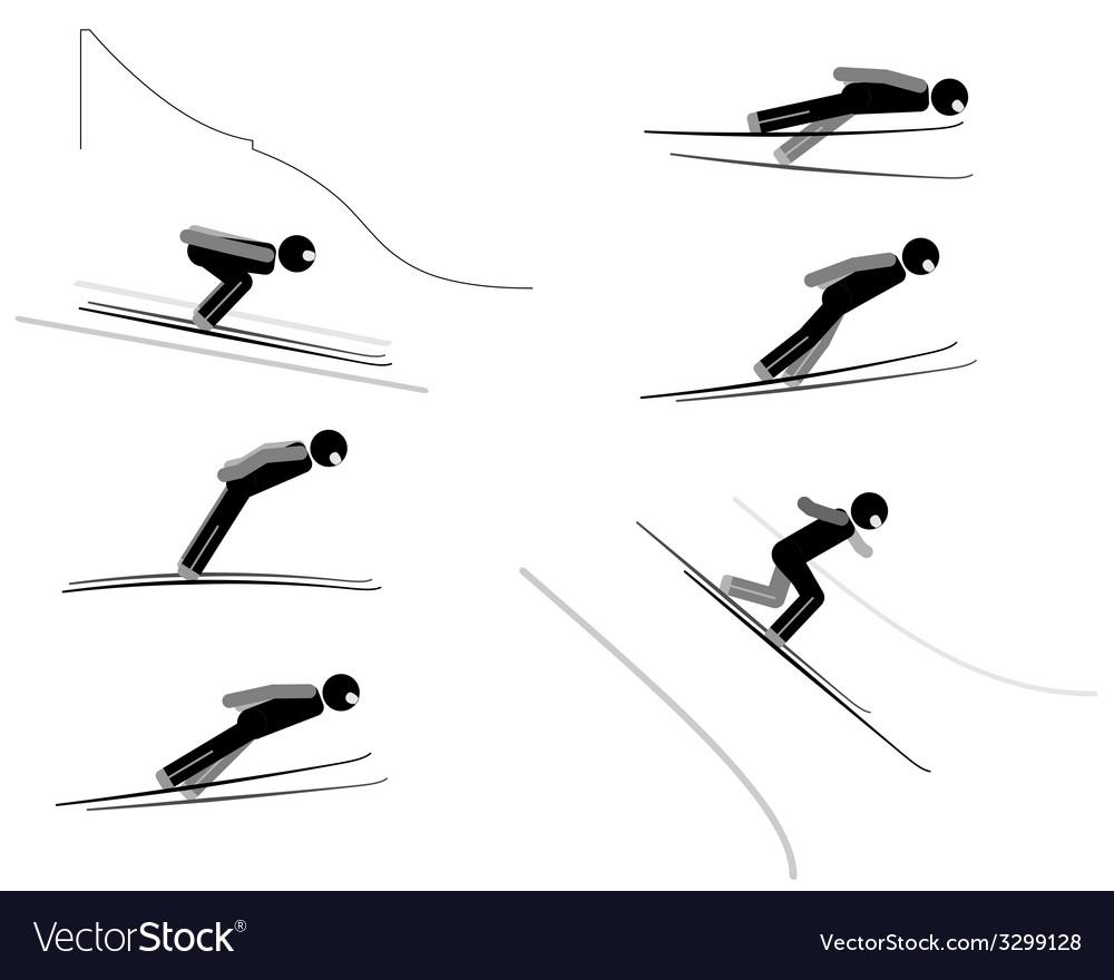 Ski jumping - pictogram set vector image