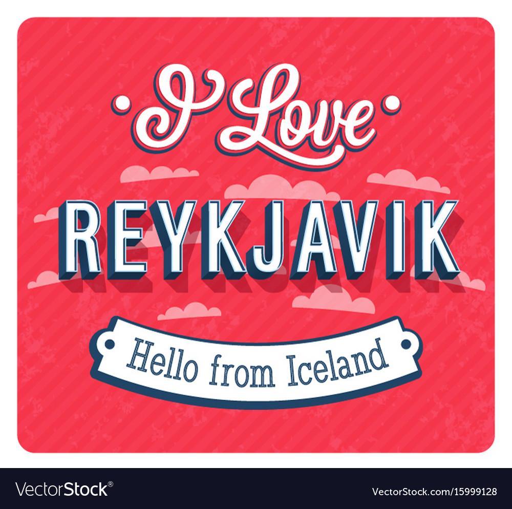 Vintage greeting card from reykjavik vector image
