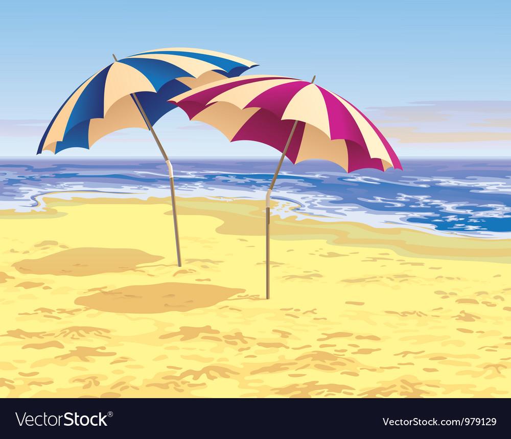Two umbrellas vector image