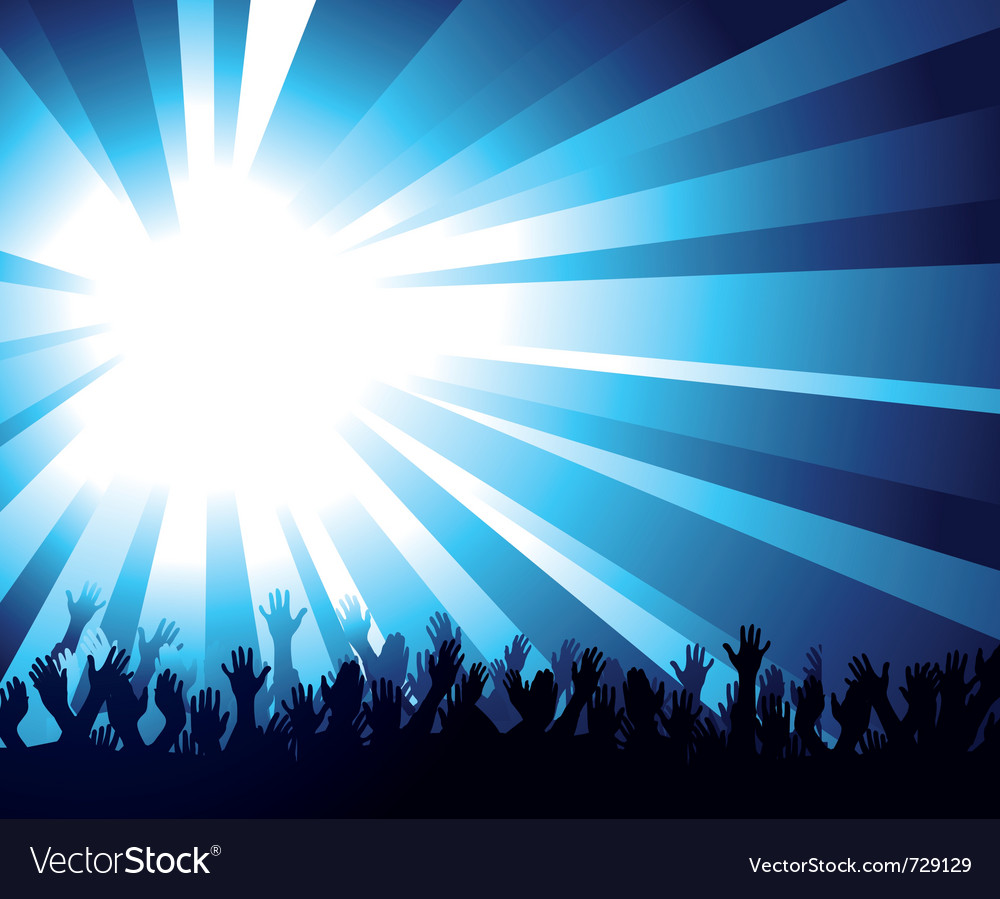 Crowd and starburst vector image