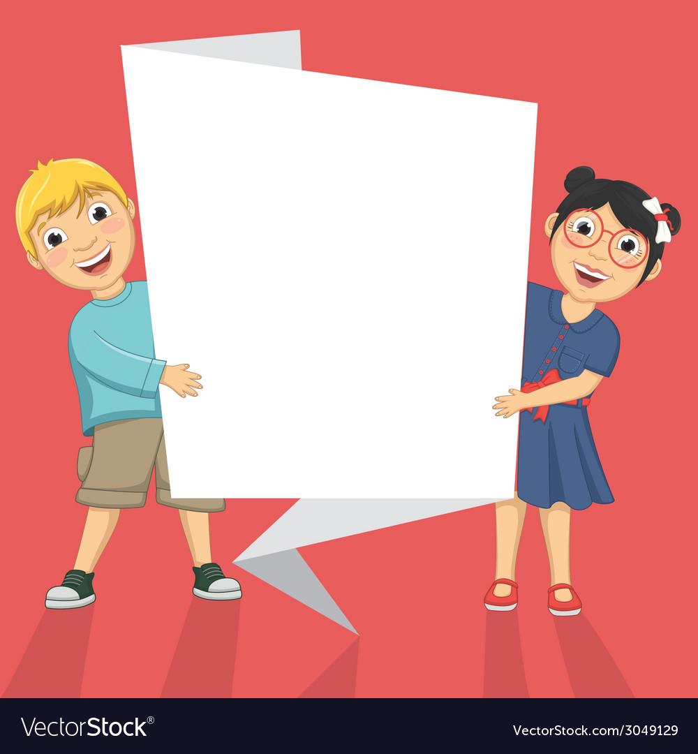 Of Cute Children Holding Origa vector image