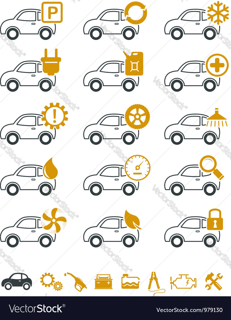 Car repair and service icons vector image