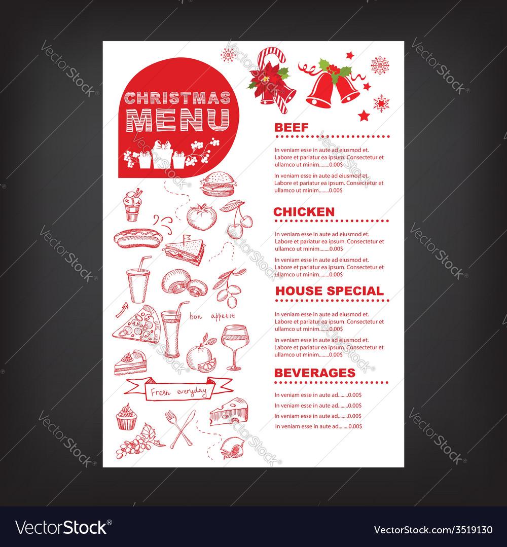 Christmas restaurant and party menu invitation vector image christmas restaurant and party menu invitation vector image stopboris Images