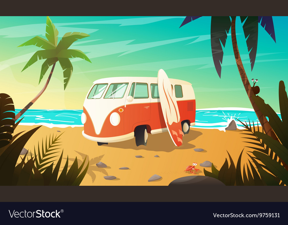 Old bus on the beach with surfboard vector image