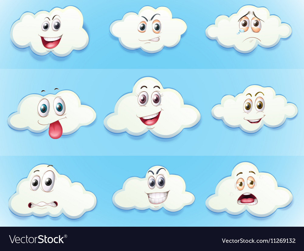 Clouds with facial expressions vector image