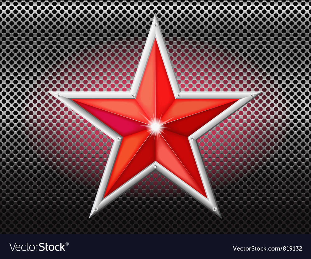 Red star background grid vector image