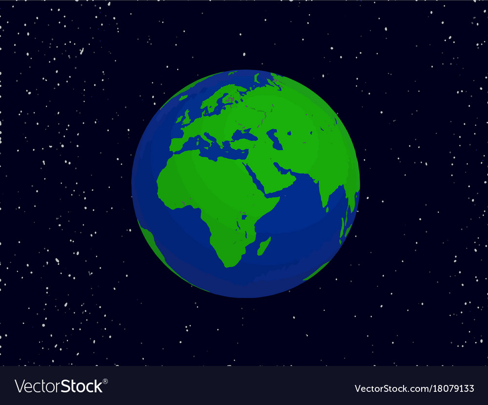 Earth planet on black sky background vector image