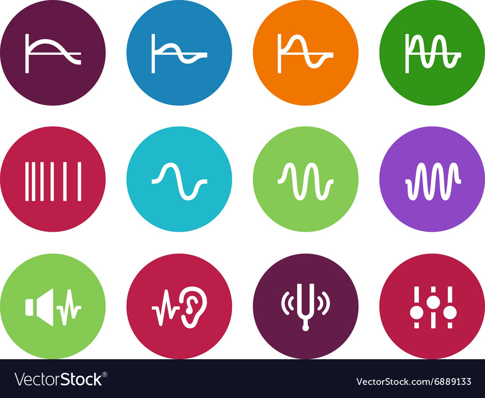 Music waves circle icons on white background vector image