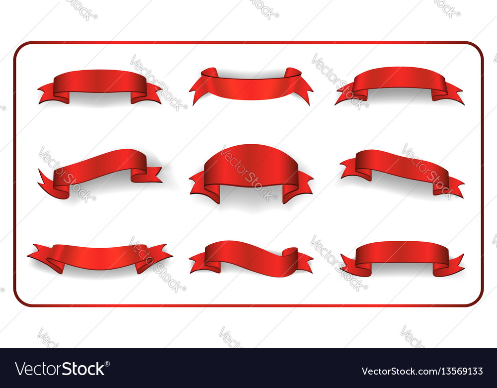 Ribbons banners set satin blank collection vector image