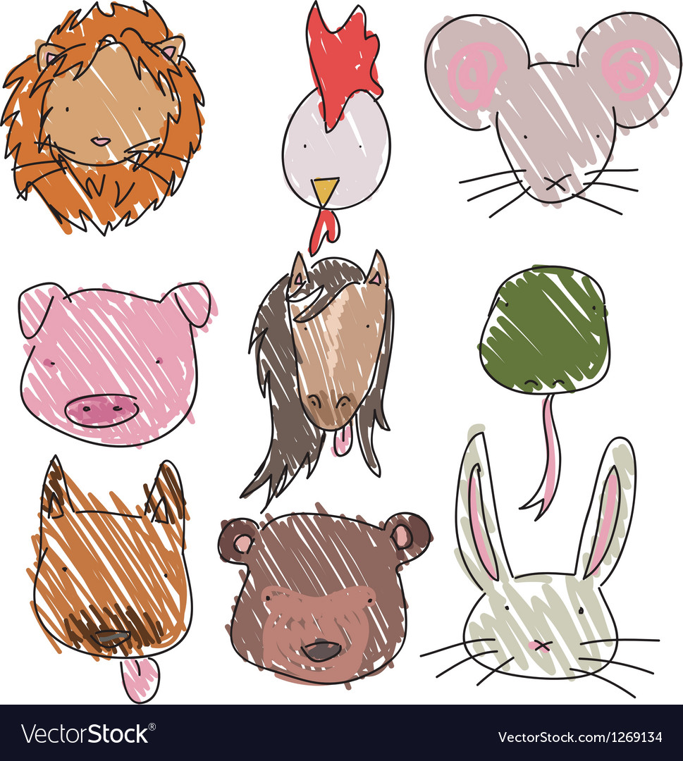 Animalheads vector image