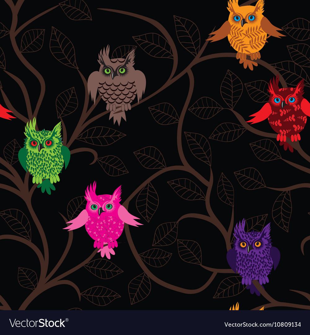 Owl bird seamless funny background with cartoon vector image