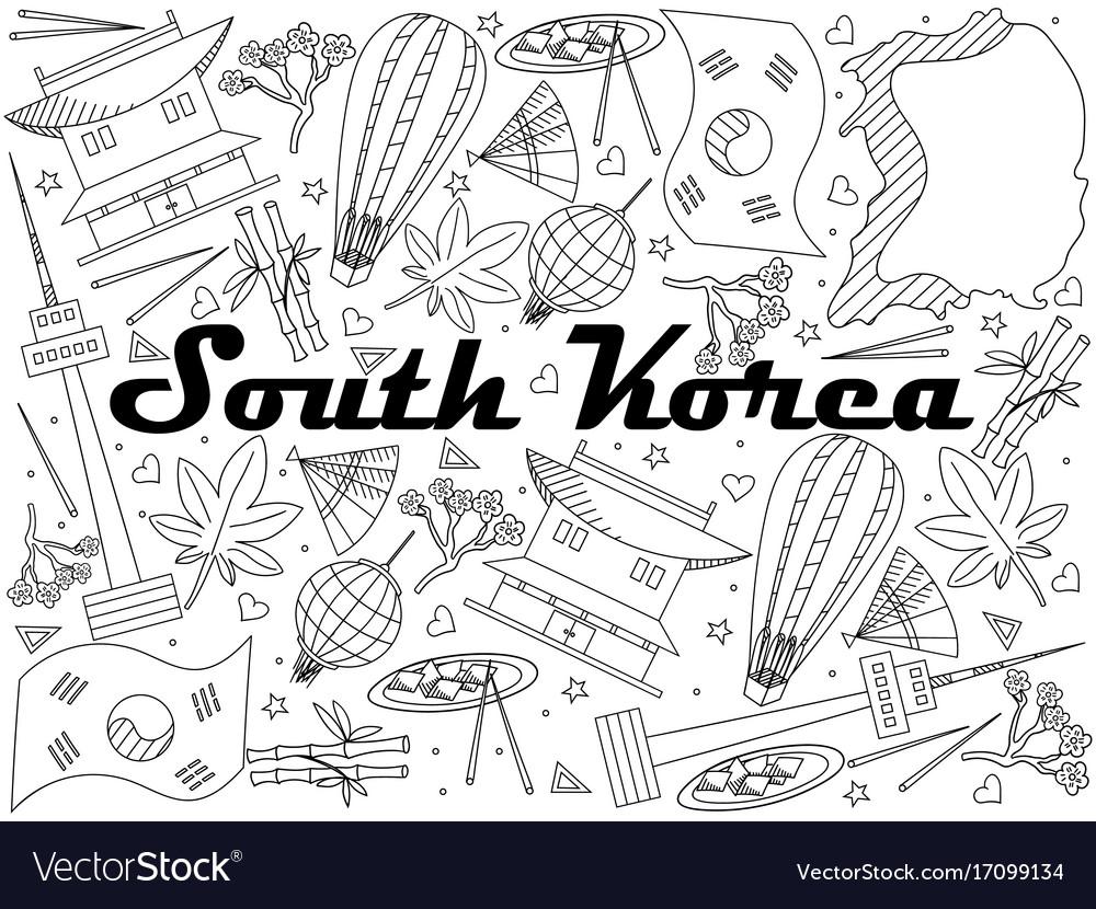 South korea coloring book - South Korea Line Art Design Vector Image