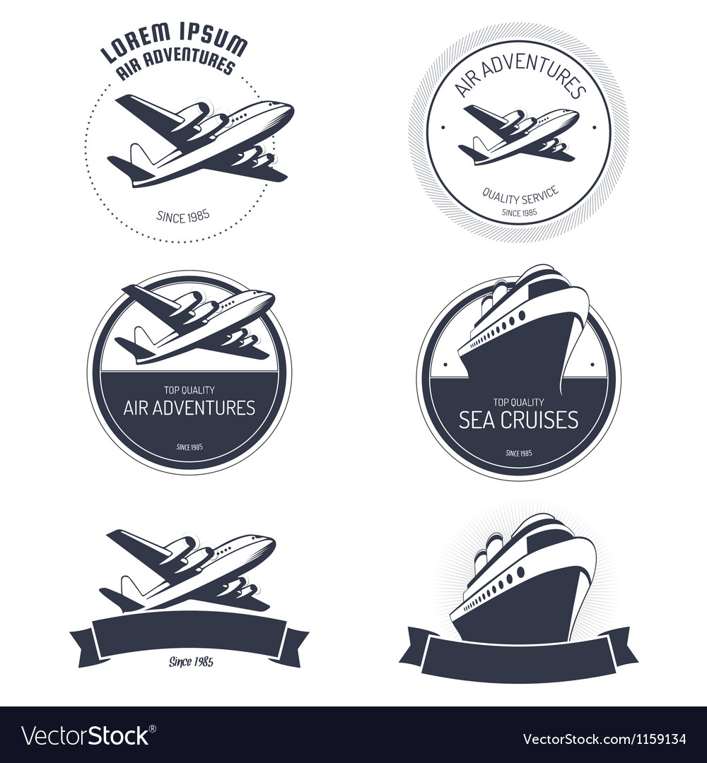 Vintage air and cruise tours labels and badges vector image