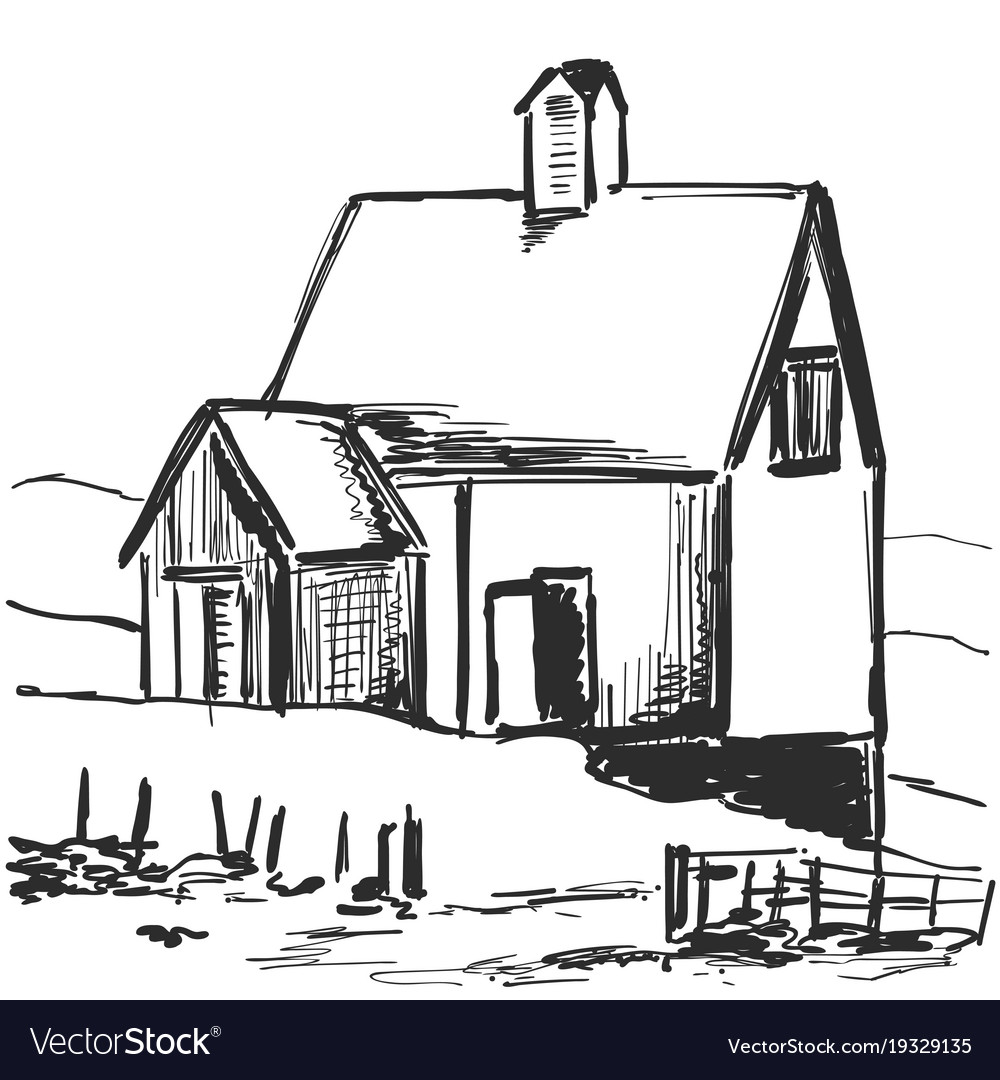 Country house rural landscape sketch drawing Vector Image for Countryside House Drawing  lp00lyp