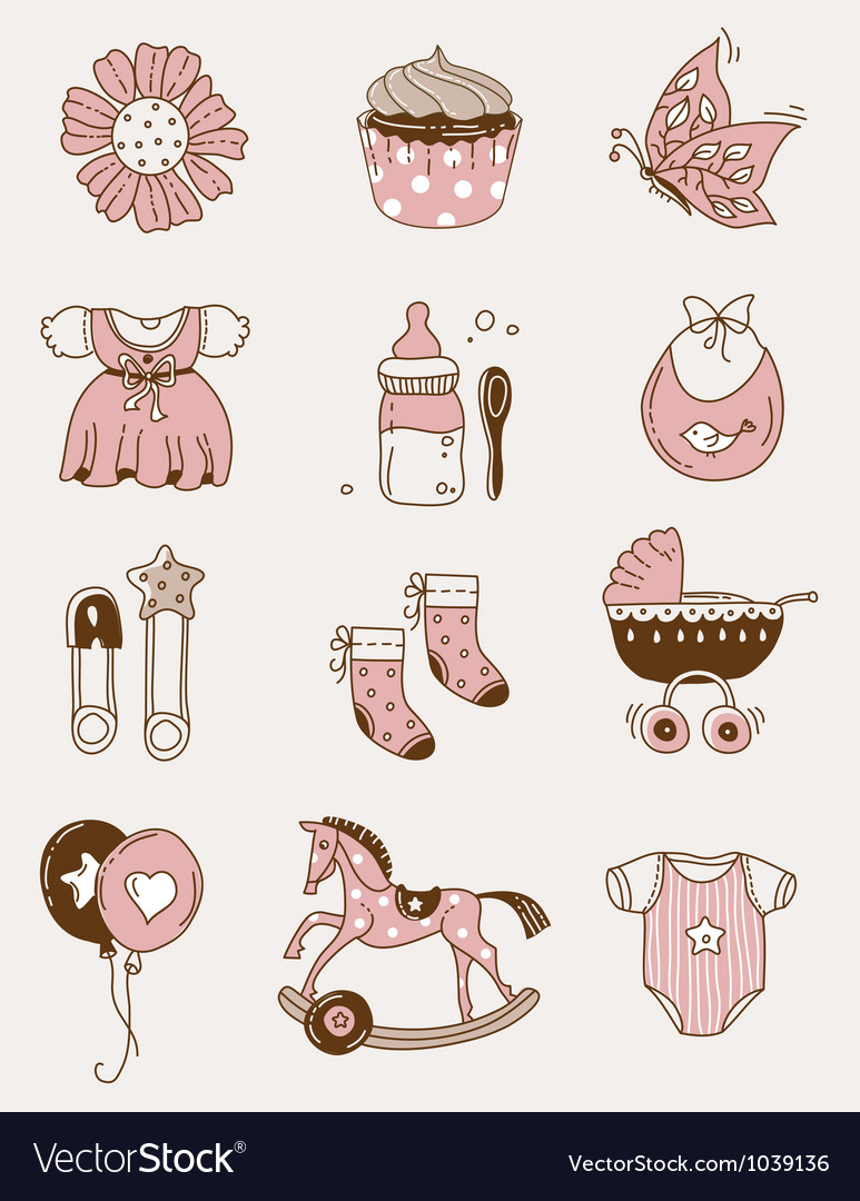 Baby icons - girl vector image