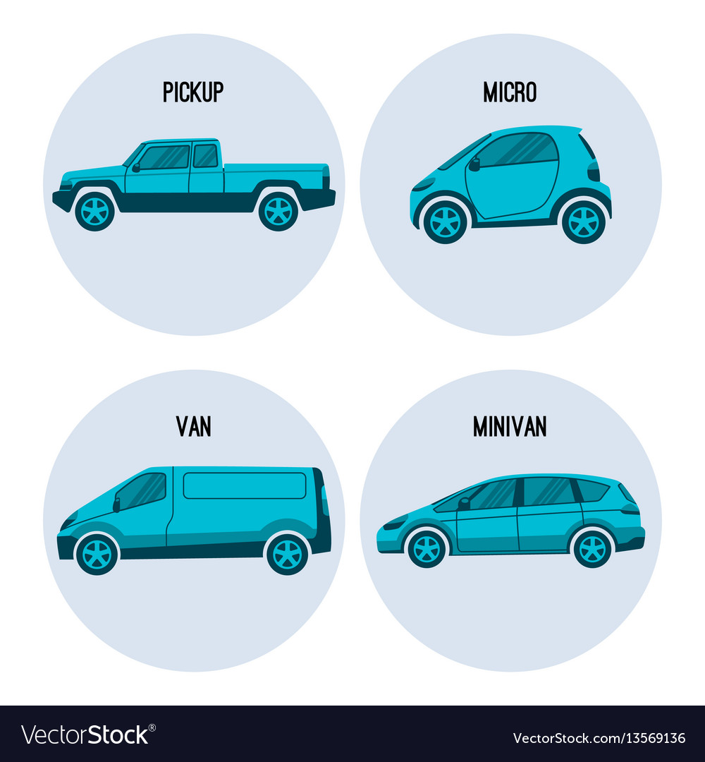 Pickup truck microcar van road vehicle minivan vector image