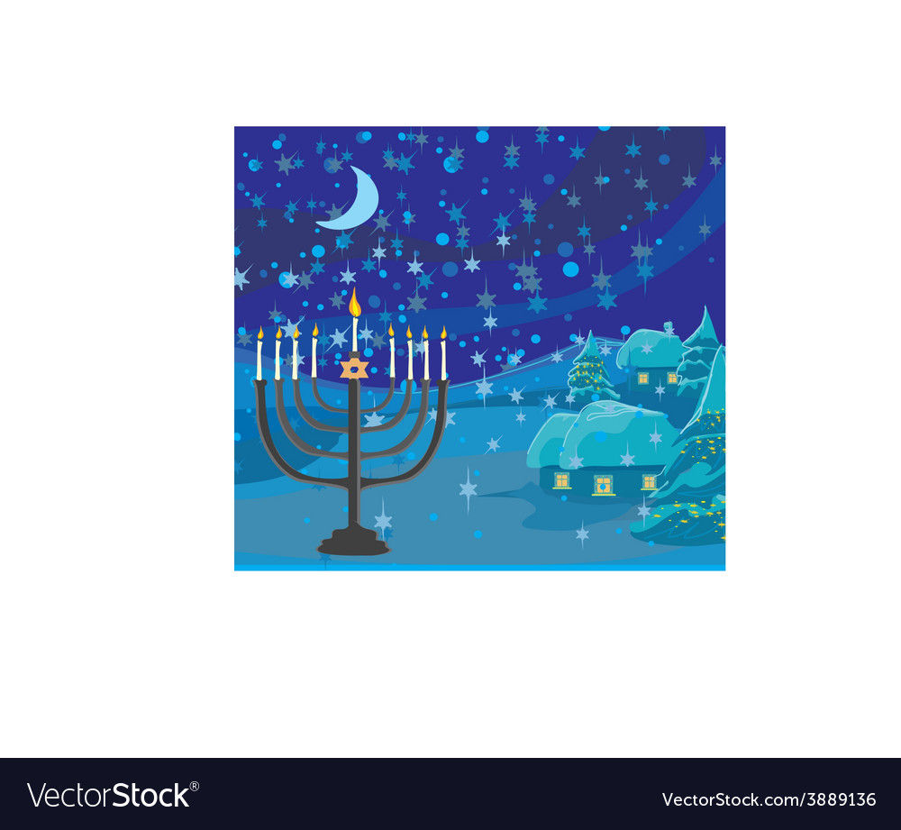Winter Christmas scene - hanukkah menorah abstract vector image