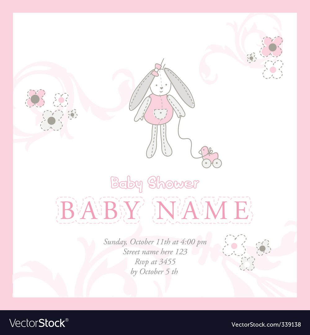 baby girl announcement card  Baby girl announcement card Royalty Free Vector Image